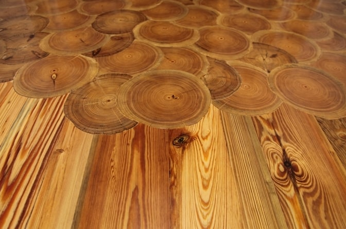 Log rounds and wood tiles for antique wood floors for Antique wood flooring