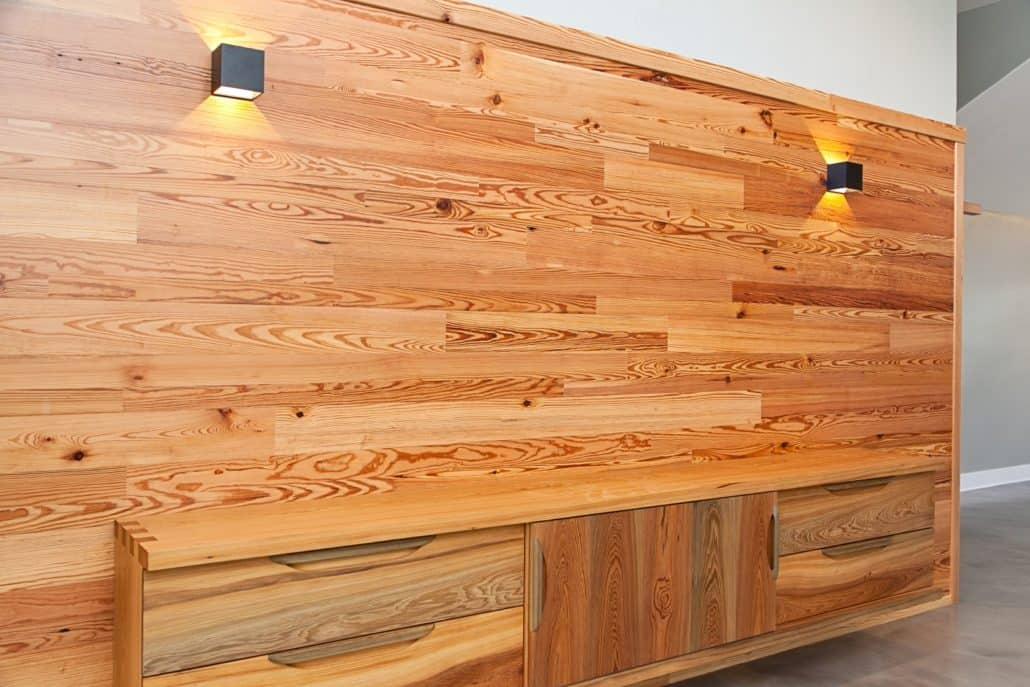 Private Residence - Vintage Precision Engineered wall and the River-Recovered Heart Cypress cabinet with UV Oil.