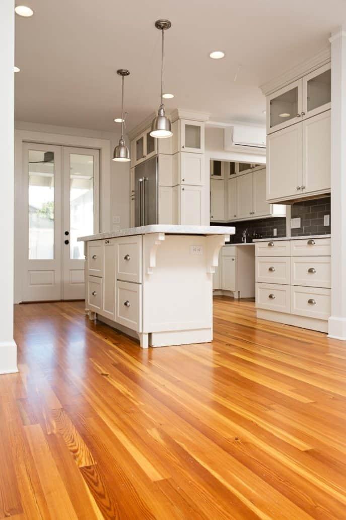 kitchen flooring - heart pine, reclaimed wood floors. 1
