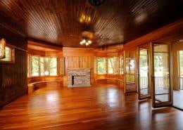 wood paneling floors ceiling