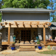 Goodwin Company River Recovered® Heart Cypress slabs for deck.